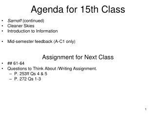 Agenda for 15th Class