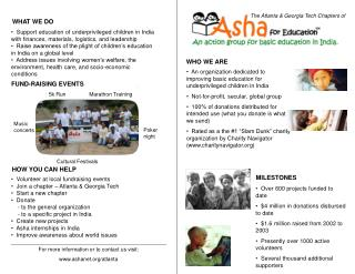 An organization dedicated to improving basic education for underprivileged children in India