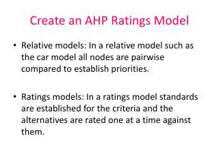 Create an AHP Ratings Model