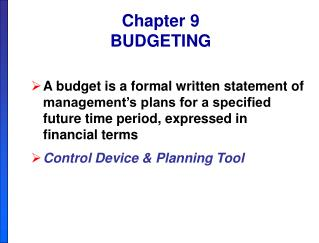 Chapter 9 BUDGETING