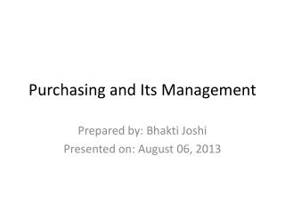 Purchasing and Its Management