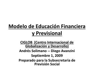 Modelo de Educaci n Financiera y Previsional