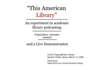 �This American Library �