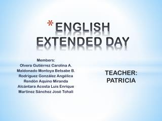 E NGLISH  EXTENDED DAY