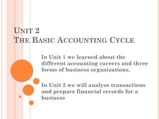 Unit 2 The Basic Accounting Cycle