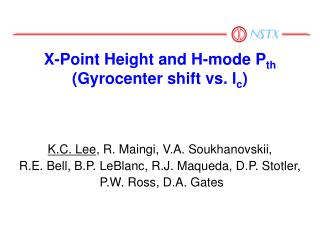 X-Point Height and H-mode P th (Gyrocenter shift vs. l c )