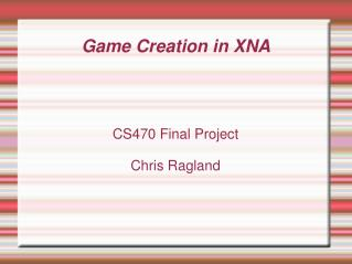 Game Creation in XNA