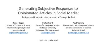 Generating Subjective Responses to Opinionated Articles in Social Media :