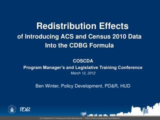 COSCDA  Program Manager�s and Legislative Training Conference March 12, 2012