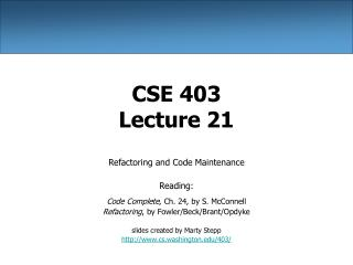 CSE 403 Lecture 21
