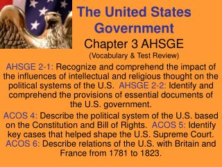 The United States Government Chapter 3 AHSGE (Vocabulary & Test Review)