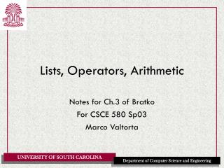 Lists, Operators, Arithmetic