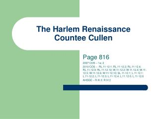 The Harlem Renaissance Countee Cullen