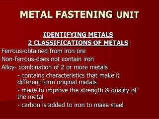 METAL FASTENING UNIT
