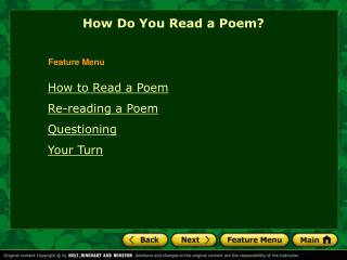 How to Read a Poem Re-reading a Poem Questioning Your Turn
