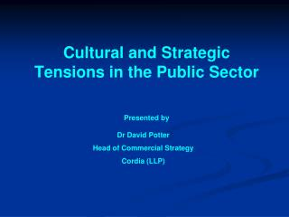 Cultural and Strategic Tensions in the Public Sector