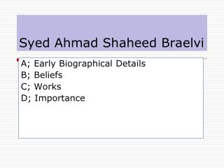 Syed Ahmad Shaheed Braelvi