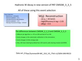 Hadronic W decay in new version of PAT CMSSW_3_3_5