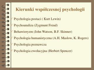 Kierunki współczesnej psychologii