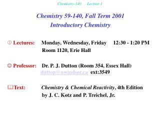 Chemistry-140      Lecture 1