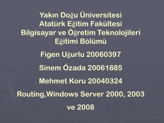WİNDOWS SERVER 2000