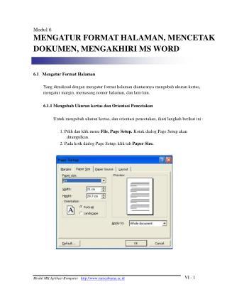 Modul 6 MENGATUR FORMAT HALAMAN, MENCETAK DOKUMEN, MENGAKHIRI MS WORD