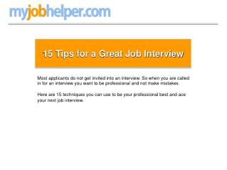 15 Tips for a Great Job Interview