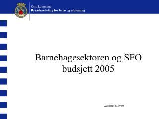 Barnehagesektoren og SFO  budsjett 2005