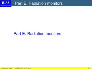 Part E. Radiation monitors