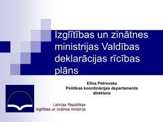 Izglītības un zinātnes ministrijas Valdības deklarācijas rīcības plāns