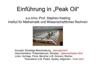 """Einführung in """"Peak Oil"""""""