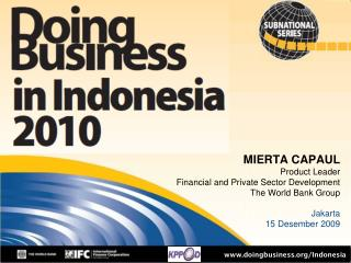 MIERTA CAPAUL Product Leader Financial and Private Sector Development The World Bank Group