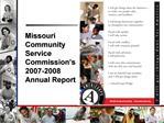 Missouri Community Service Commission s 2007-2008  Annual Report