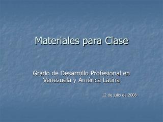 Materiales para Clase