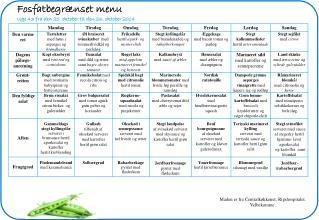 Fosfatbegrænset menu Uge 43 fra den 20. oktober til den 26. oktober 2014