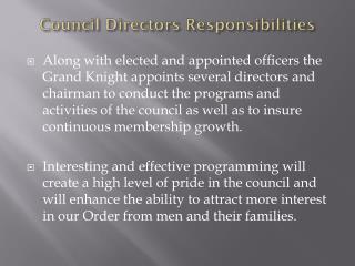 Council Directors Responsibilities