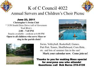 K of C Council 4022 Annual Servers and Children's Choir Picnic