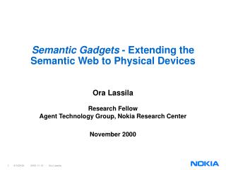 Semantic Gadgets  - Extending the Semantic Web to Physical Devices