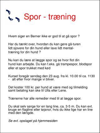 Spor - træning