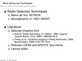 Basic Detection Techniques