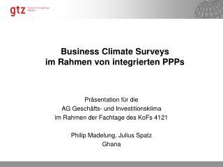Business Climate Surveys  im Rahmen von integrierten PPPs