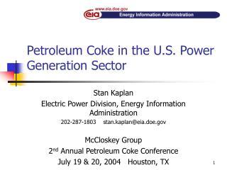 Petroleum Coke in the U.S. Power Generation Sector