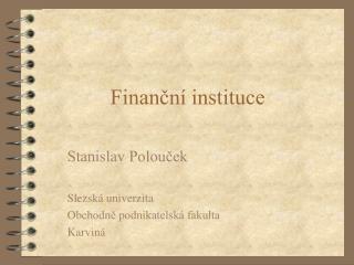 Finanční instituce