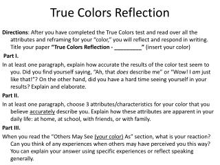 True Colors Reflection