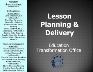 Lesson Planning & Delivery