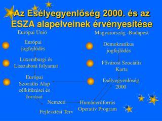 Az Esélyegyenlőség 2000. és az ESZA alapelveinek érvényesítése