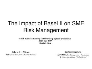 The Impact of Basel II on SME Risk Management