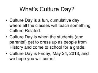 What's Culture Day?