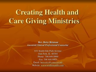 Creating Health and Care Giving Ministries
