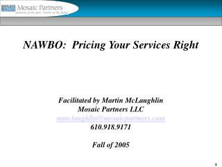 NAWBO:  Pricing Your Services Right